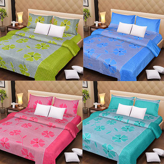 pack of 4 cotton double bedsheet with 8 pilllow covers- Design174