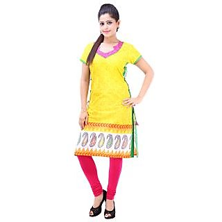 Rangree Traditional V-Neck Floral Print Cotton Kurti (STKU003)