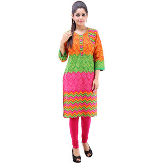 Rangree Traditional Round Neck Printed Cotton Kurti (STKU011)