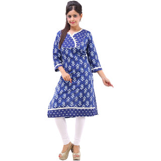 Rangree Traditional V-Neck Floral Print Cotton Kurti (STKU040)