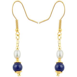 Ocean Round spark Fresh Water Pearl And Blue Jade 25 Inch Earrings