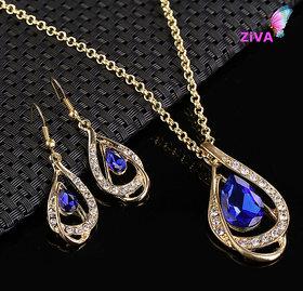 ZiVA - Sapphire Crystal Necklace Set
