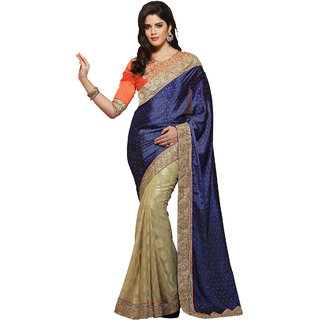 Fabdeal Blue  Beige Colored Satin Jaquard Embroidered Saree