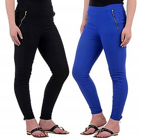 Raabta Black  Royal Blue Jegging Set of Two Combo