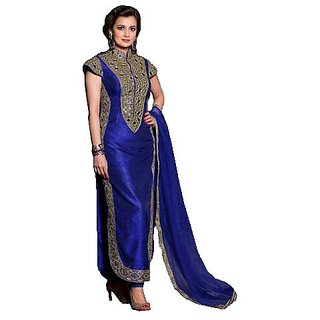 janvi designer blue cotton straight cut semi stitched salwar suit