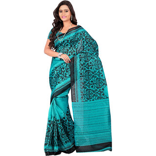 7 Colors Lifestyle Turquoise  Black Coloured Bhagalpuri Embroidered Saree