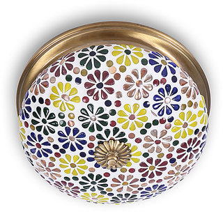 Fos Lighting Multicolored Mosaic Brass Ceiling Lamp
