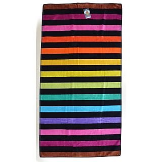 Striped Black Back Egyptian Jacquard Towel