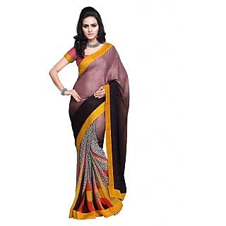 Multi colored printed Georgette saree