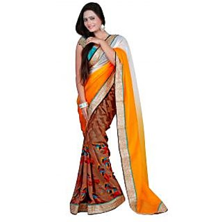 7 Colors Lifestyle Yellow  Offwhite Coloured Jacquard  Georgette Embroidered Saree