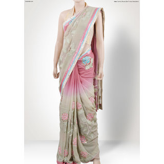 Light Pink  Green Saree with Embroidery