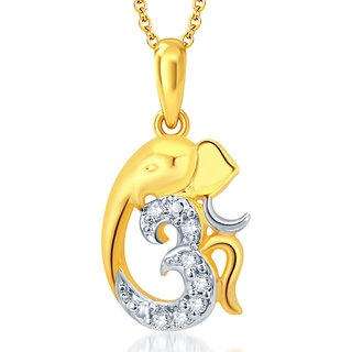 Sukkhi Gorgeous Gold and Rhodium Plated CZ Om Ganesha God Pendant With Chain