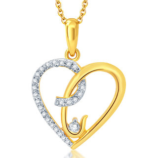 Sukkhi Moddish Gold and Rhodium Plated CZ Heart Pendant With Chain