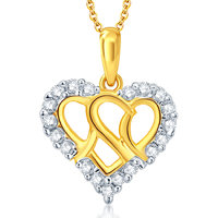 Sukkhi Delightful Gold and Rhodium Plated CZ Heart Pendant With Chain