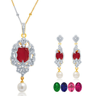 Sukkhi Fabulous Gold and Rhodium Plated CZ Pendant Set with Set of 5 Changeable Stone