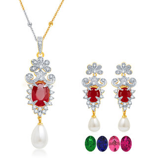Sukkhi Graceful Gold and Rhodium Plated CZ Pendant Set with Set of 5 Changeable Stone