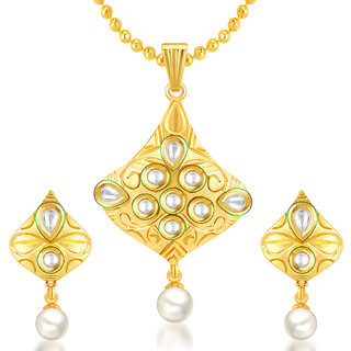 Sukkhi Lavish Gold Plated Kundan Pendant Set