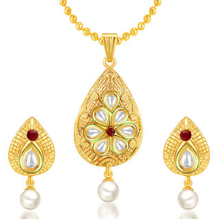 Sukkhi Attractive Gold Plated Kundan Pendant Set