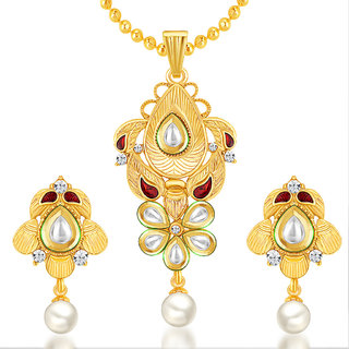 Sukkhi Incredible Gold Plated Kundan Pendant Set