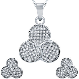 Sukkhi Fascinating Rhodium plated Micro Pave Setting CZ Pendant Set