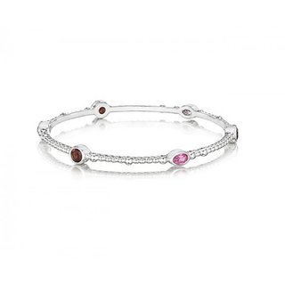 The Boutique Life Sparkler Bangle With Garnet And Pink Topaz