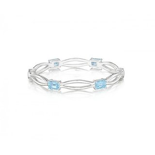 The Boutique Life Sterling Hinged Bangle With Blue Topaz