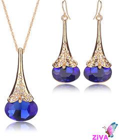 ZiVA - Blue Sapphire Austrian Crystal Necklace Set