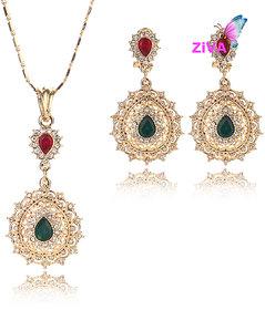 ZiVA - Red Green Crystal Jewelry Set