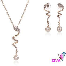 Ziva - Pearl Gold Jewelry Set
