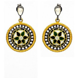 OyeSassy Round 925 Sterling Silver Dangle Earrings Studded With Zircon White (Design 1)