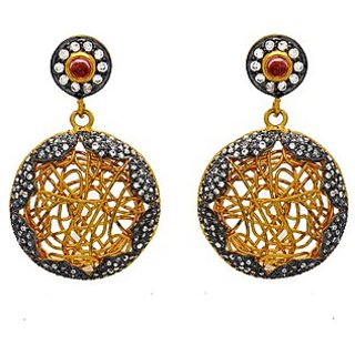 OyeSassy Round Bollywood 925 Sterling Silver Dangle Earrings (Design 1)
