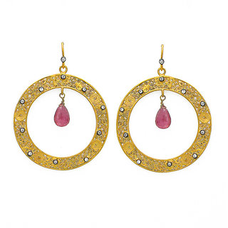 OyeSassy Round Bollywood 925 Sterling Silver Dangle Earrings (Design 2)
