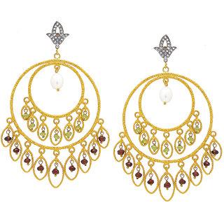 OyeSassy Bollywood Style 925 Sterling Silver & Pearl Dangle Earrings (Design 1)