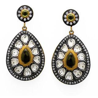OyeSassy Bollywood Style Enameled 925 Sterling Silver Dangle Earrings (Design 13)