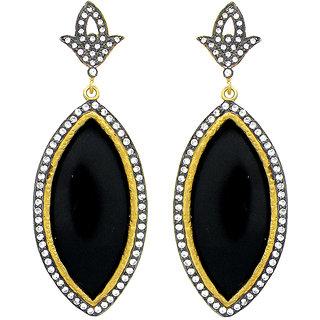 OyeSassy Unique Gemstone & Bronze Dangle Earrings