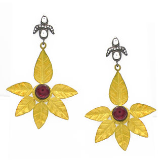 OyeSassy Flower Shaped 925 Stering Silver Dangle Earrings