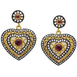 OyeSassy Heart Shaped Tourmaline Pink Sterling Silver Dangle Earrings
