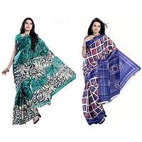 Kajal Sarees Green Art Silk Printed Saree With Blouse (Combo of 2)