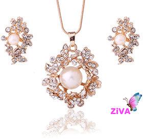 ZiVA- Pearl Gold Romantic Jewelry Set
