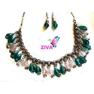 ZiVA - Green White Jewelry Set