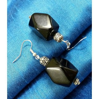 Black colored box shape beads with silver colored oxidised beads earrings