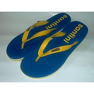 Santini Brand Blue Yellow Slipper For Men