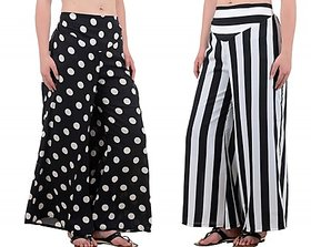 Black,White Dotted Palazzo For Women (Pack Of 2)