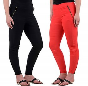 Westchic Black  Red Jegging Set of Two Combo KWJG-021