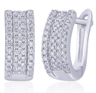Peora Sterling Silver Rhodium Micro Pave CZ Bling it on Hoops PE354