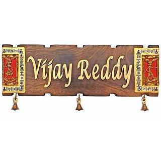 Handworkz Warli & Dhokra Art Woode Name Plate