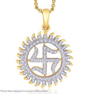 Peora Sterling Silver 18 Karat Gold Plated Shubh Swastik CZ Pendant (PP1G)