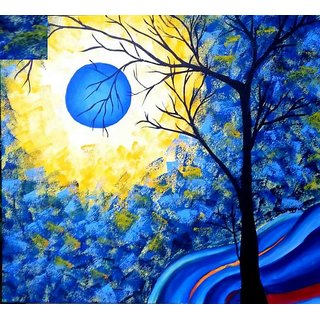 Blue tree canvas 18×20 inches