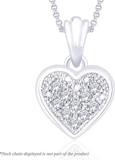 Peora Silver Shimmering Heart Pendant PP3020