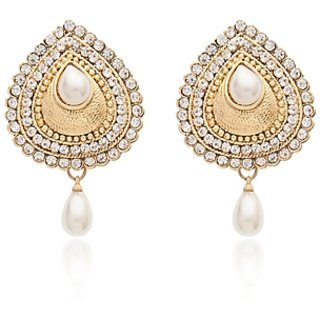 Vanila Jewels Gold Plated GOLD EMBOSS PEARL EARRING